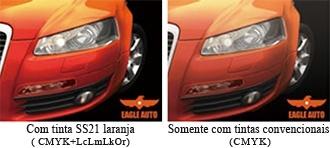 Com tinta SS21 laranja ( CMYK+LcLmLkOr) / Somente com tintas convencionais (CMYK)