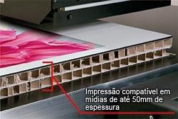 Impressão compatível em mídias de até 50mm de espessura