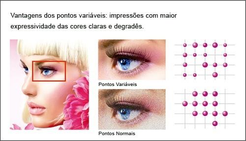Vantagens dos pontos variáveis: impressões com maior expressividade das cores claras e degradês.