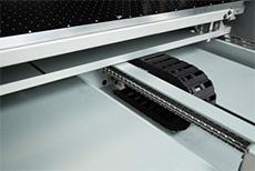 A mesa de impressão que se movimenta, evitando a vibração durante a impressão.