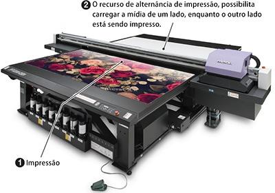 O recurso de alternância de impressão, possibilita carregar a mídia de um lado, enquanto o outro lado está sendo impresso.