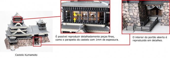 Castelo Kumamoto: É possível reproduzir detalhadamente peças finas, como o parapeito do castelo com 1mm de espessura.