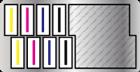 Total de 8 cabeças de impressão escalonadas em duas linhas (4 cabeças em cada linha)