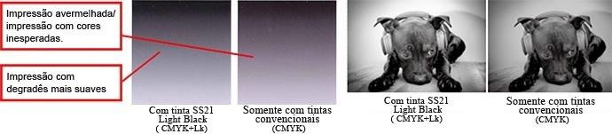 Comparação de imagens com e sem a tinta light black.