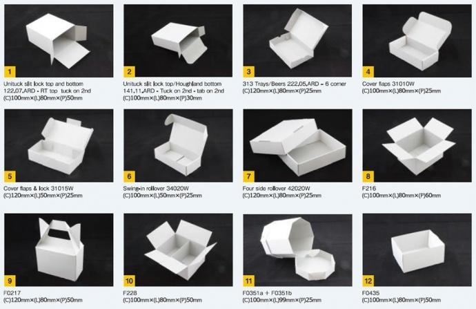 Diversos estilos de embalagens