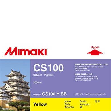 CS100-Y-BB CS100 Solvent ink bottle Yellow