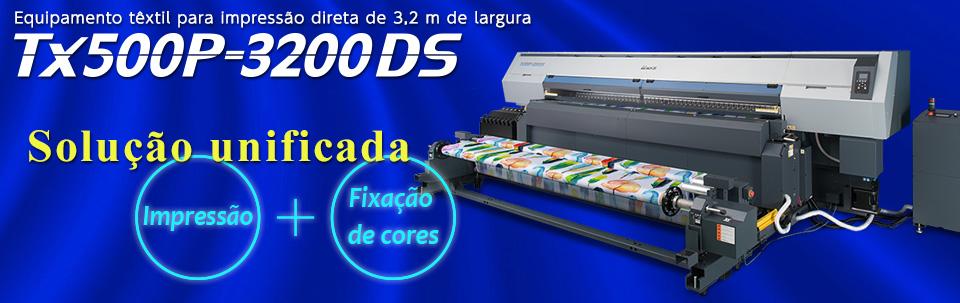 Tx500P-3200DS / Equipamento têxtil para impressão direta de 3,2 m de largura, que inclui um aquecedor para a fixação de cores, possibilitando dois processos em uma única impressora.